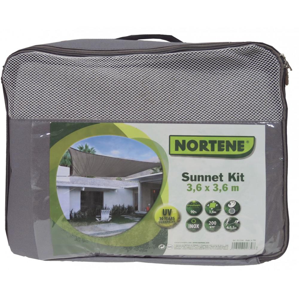 Vela de sombreo cuadrada 3,60 x 3,60 Gris Nortene kit completo