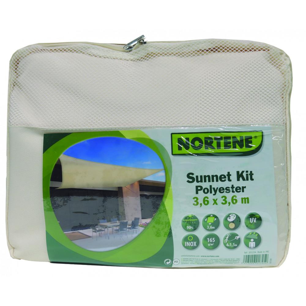Vela de sombreo impermeable cuadrada 3,60 x 3,60m Beige Nortene