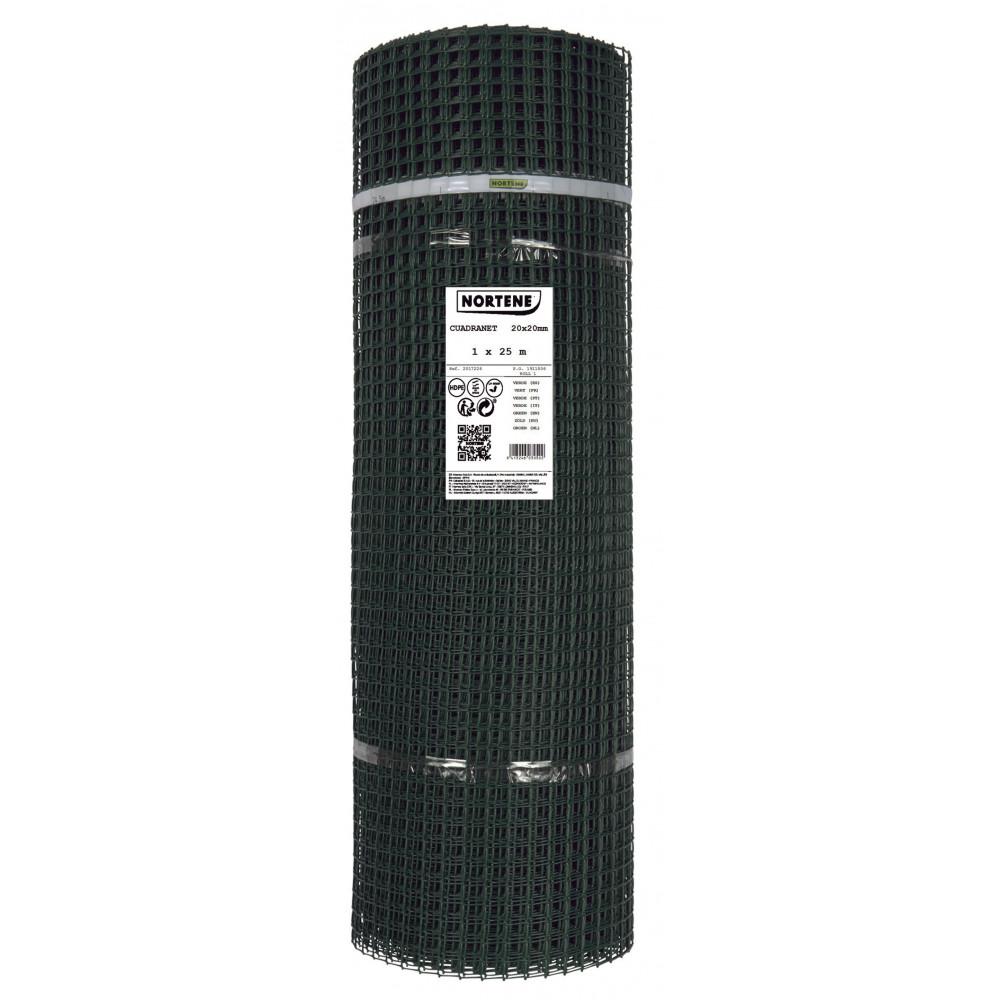 Malla cuadrada plástica 20x20 rollo 1x25m Verde Cuadranet Nortene