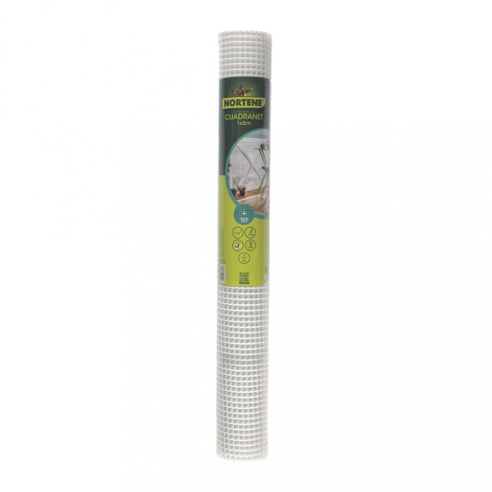Malla cuadrada plástica rollo 5m Blanco Cuadranet Nortene