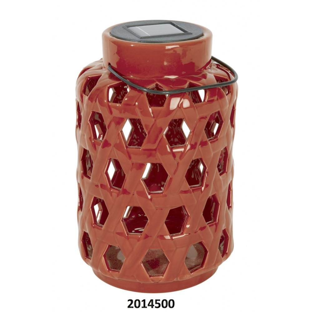 Farolillo solar de cerámica Solar Ceramica Nortene Rojo
