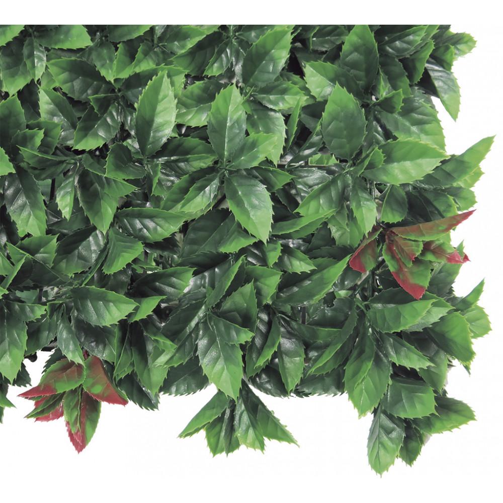 Jardín vertical sintético Red Lauro imitación hojas de laurel rojo