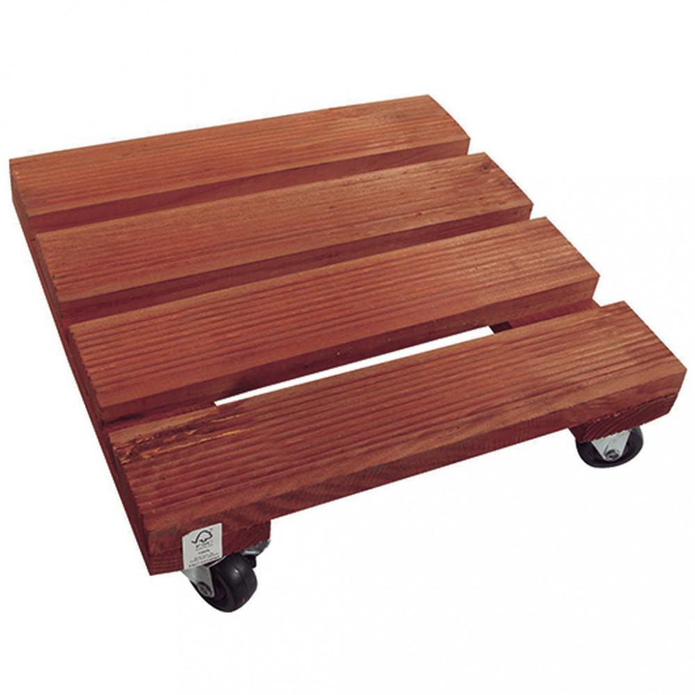 Soporte rodante de madera 0,30 x 0,30 m FLORA ROLL LASURE Nortene