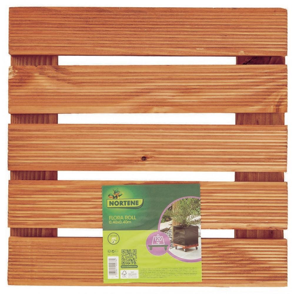 Soporte rodante de madera 0,40 x 0,40 m NORT FLORA ROLL LASURE Nortene