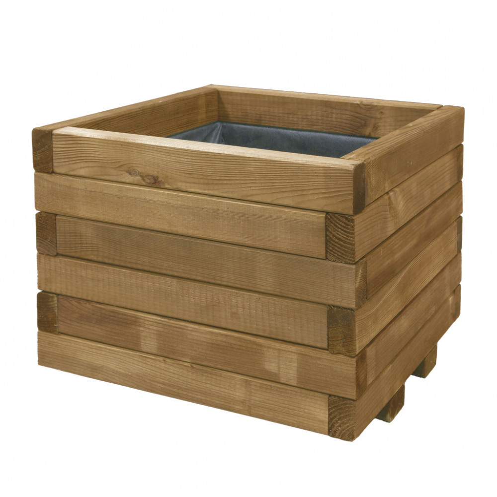 Jardinera cuadrada de madera de pino 50 x 50 x h40 cm SPIRO Nortene