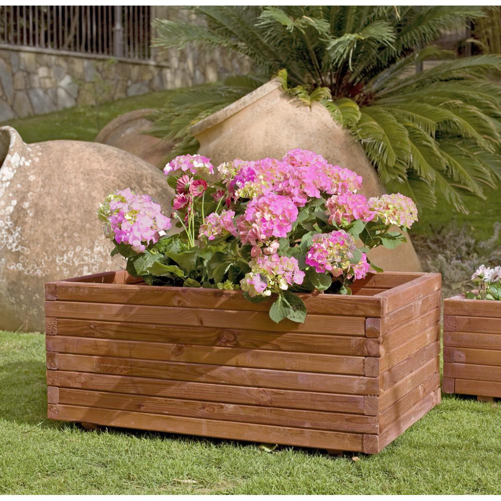 Jardinera rectangular de madera de pino grande GAIA Nortene