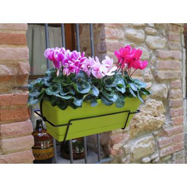 Jardinera de balcón con soporte metálico lima FLORIA 50S Nortene