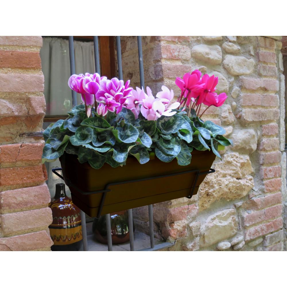 Jardinera de balcón con soporte metálico marrón FLORIA 50S Nortene