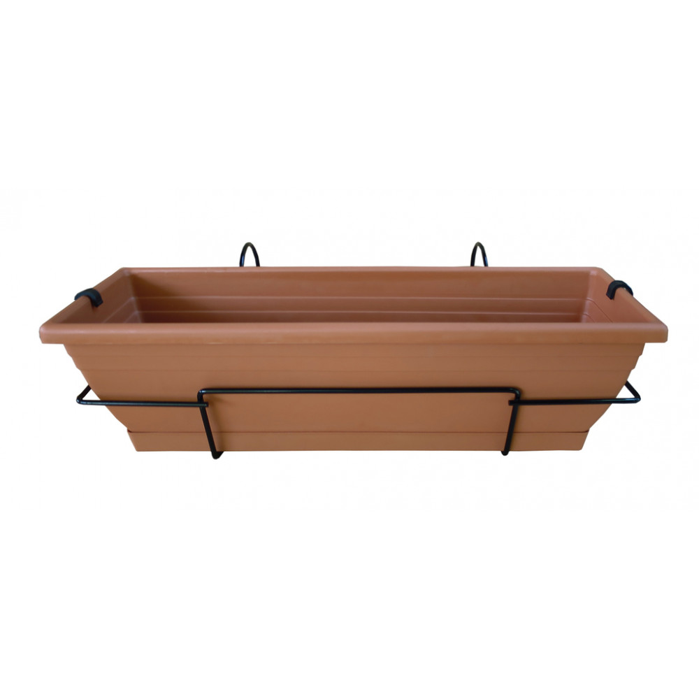 Jardinera de balcón con soporte metálico marrón FLORIA 60S Nortene