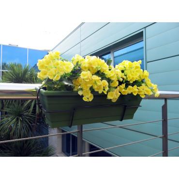Jardinera de balcón con soporte metálico verde oscuro FLORIA 60S Nortene