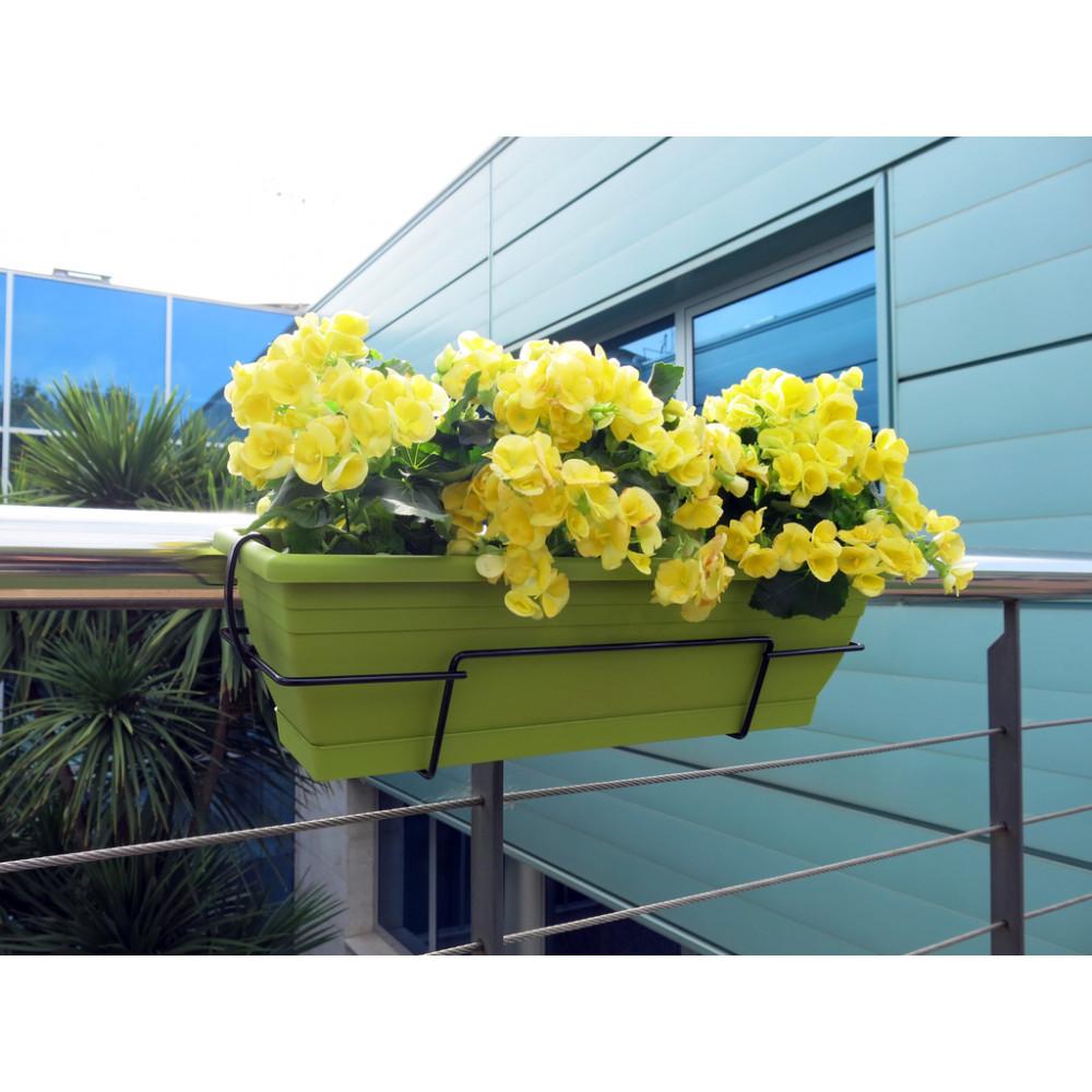 Jardinera de balcón con soporte metálico lima FLORIA 60S Nortene