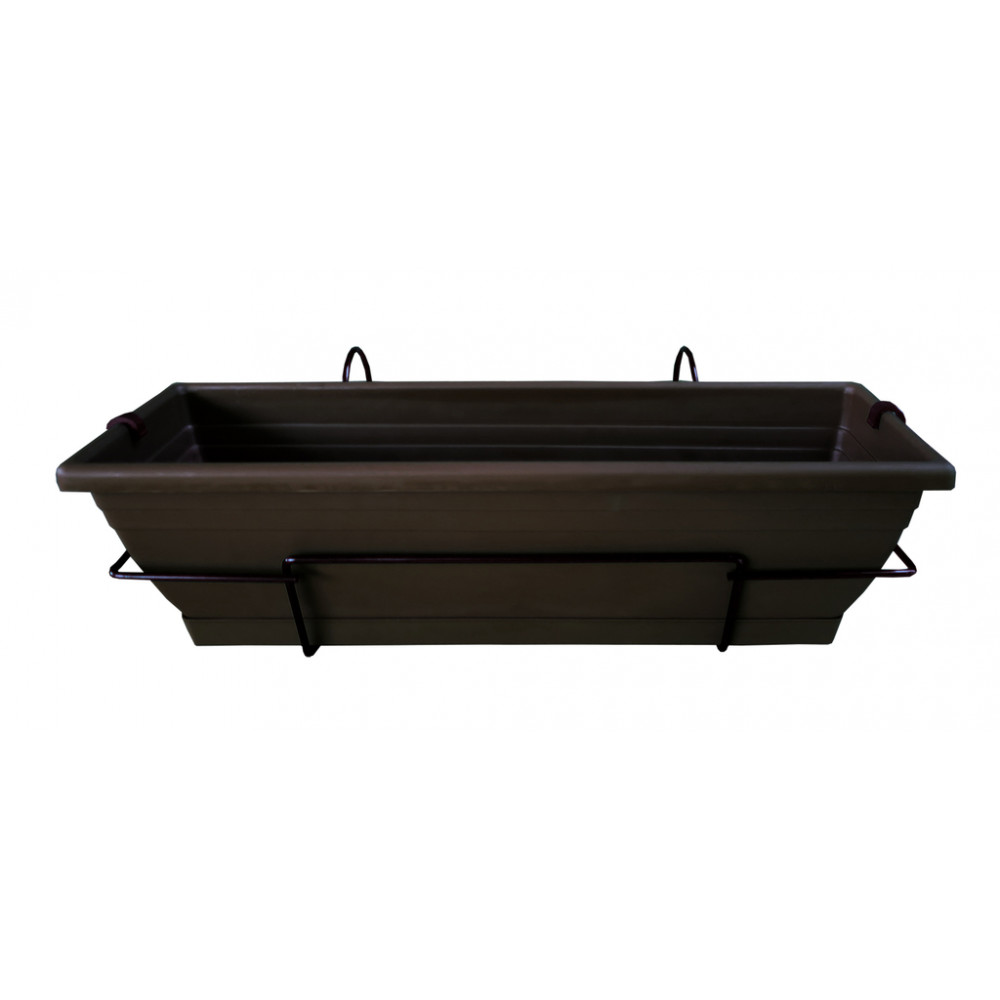 Jardinera de balcón con soporte metálico marrón oscuro FLORIA 60S Nortene