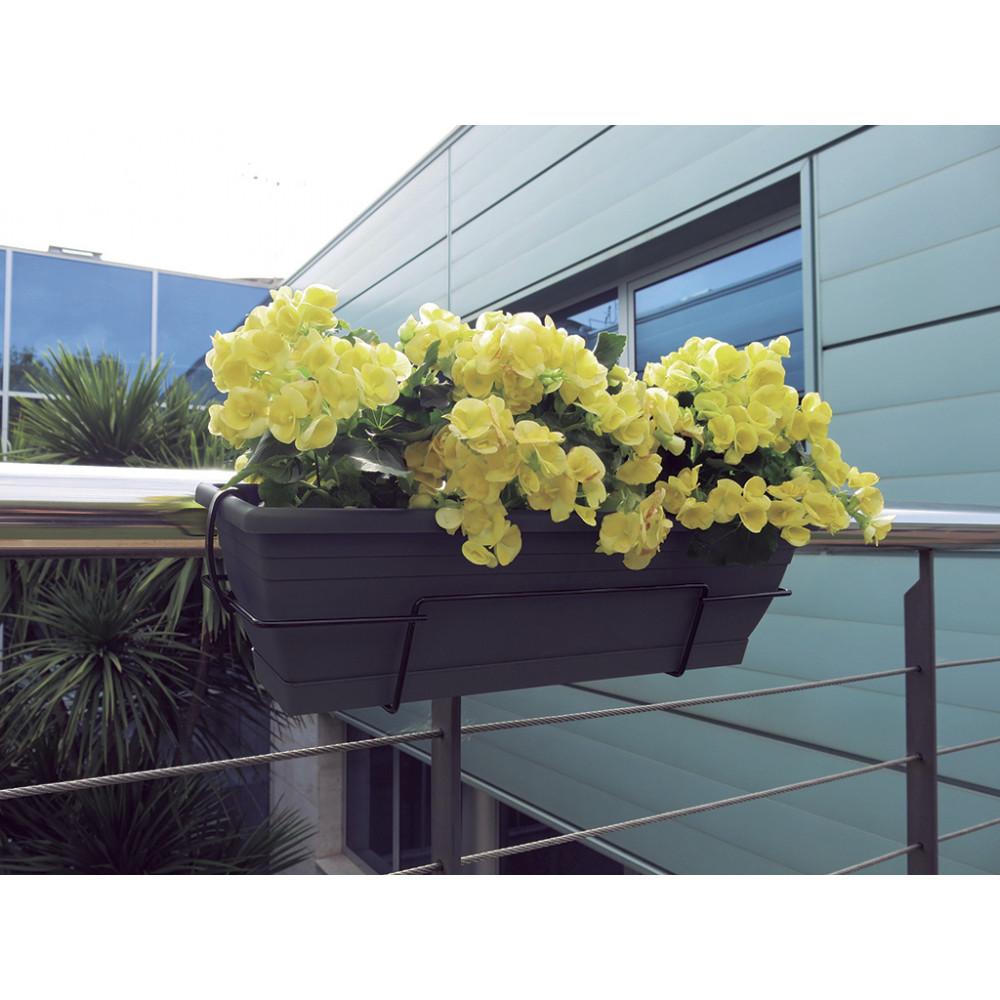 Jardinera de balcón con soporte metálico gris FLORIA 60S Nortene
