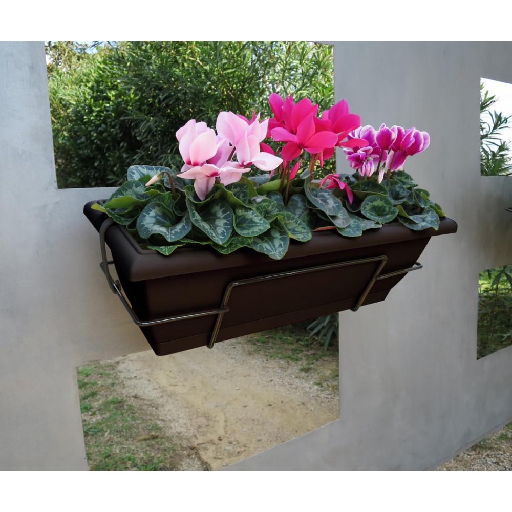 Jardinera de balcón con soporte metálico marrón oscuro FLORIA 62S Nortene