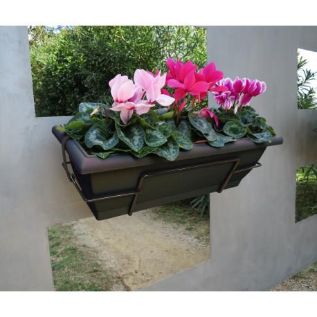 Jardinera de balcón con soporte metálico gris FLORIA 62S Nortene