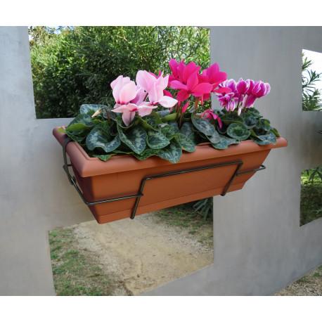 Jardinera de balcón con soporte metálico marrón FLORIA 62S Nortene