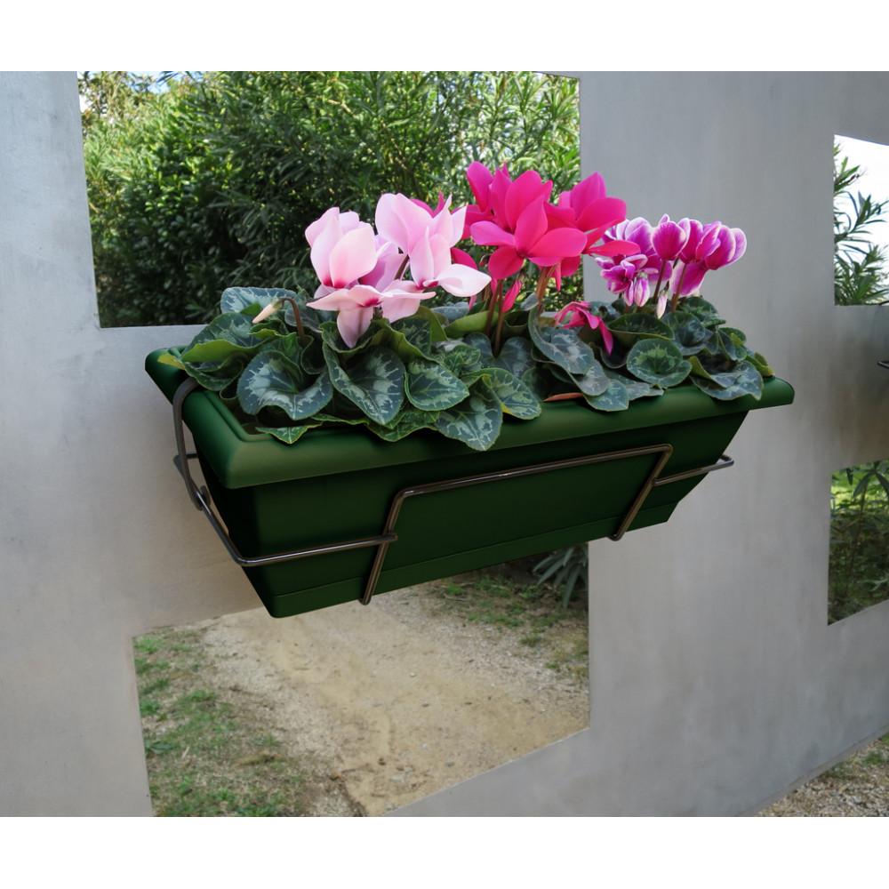 Jardinera de balcón con soporte metálico verde oscuro FLORIA 62S Nortene