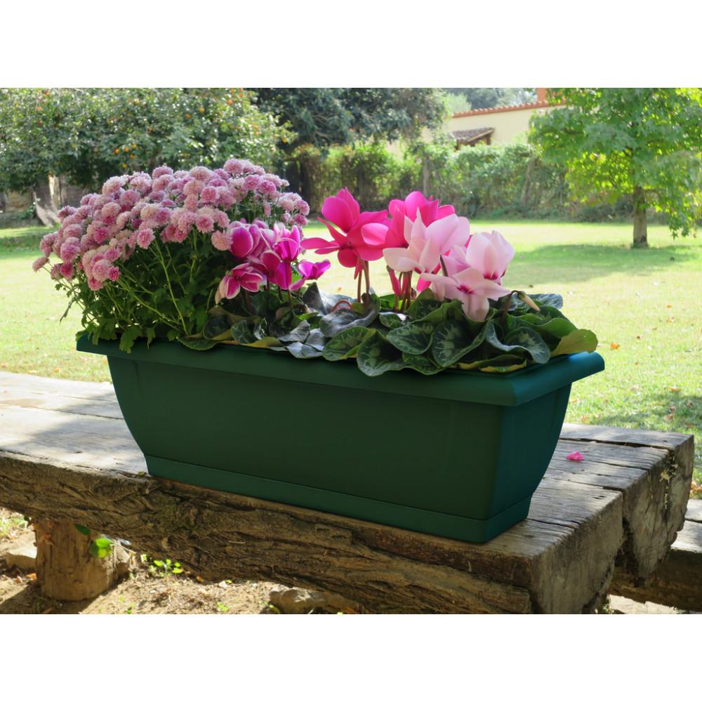 Jardinera de balcón verde oscuro ELENIA 50 Nortene