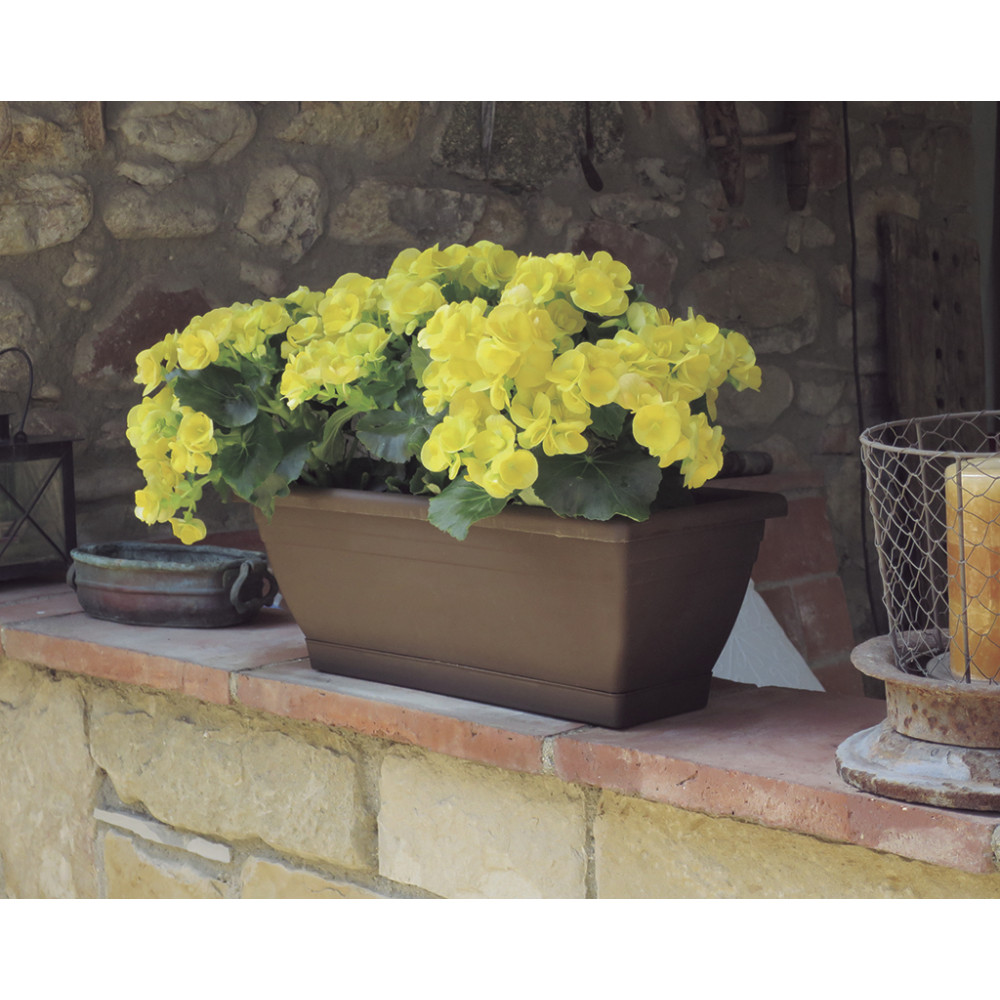 Jardinera de balcón beige ELENIA 62 Nortene