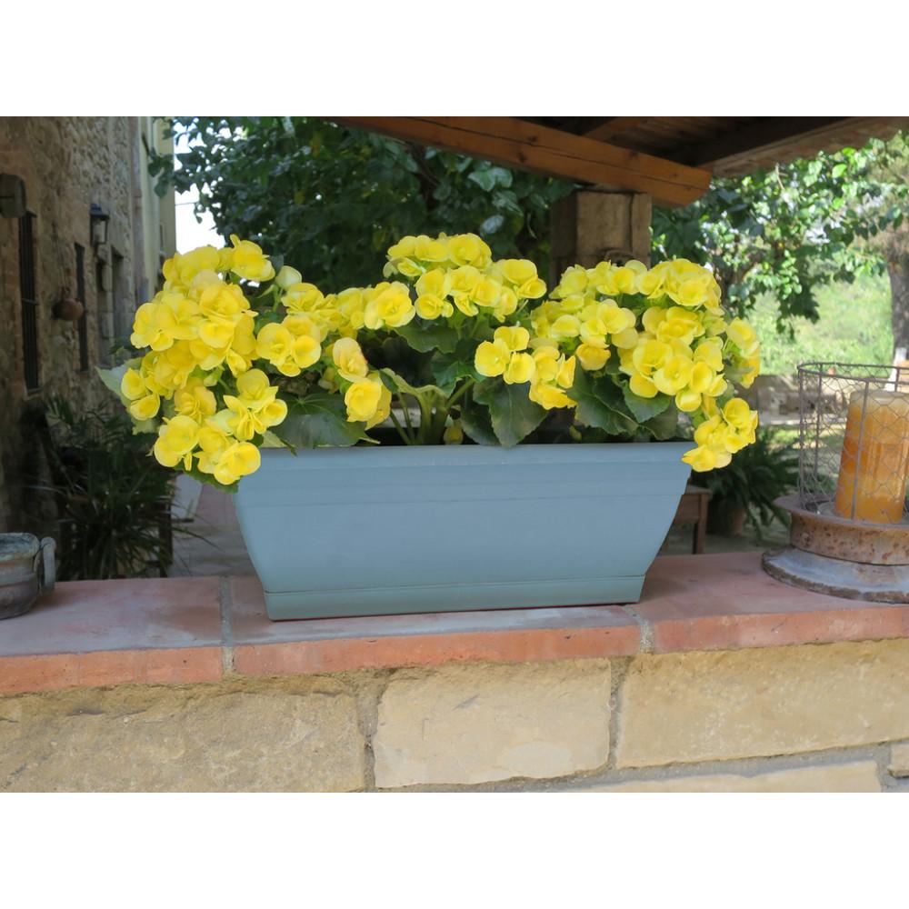 Jardinera de balcón azul ELENIA 50 Nortene