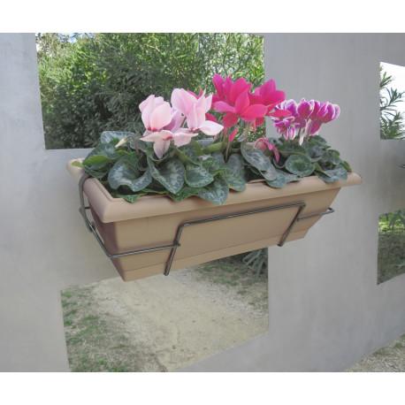 Jardinera de balcón con soporte metálico topo FLORIA 50S Nortene