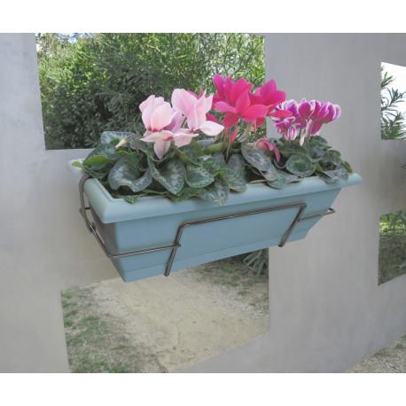 Jardinera de balcón con soporte metálico azul FLORIA 50S Nortene