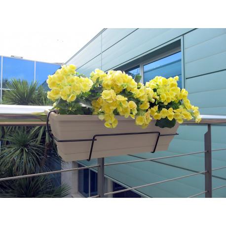 Jardinera de balcón con soporte metálico topo FLORIA 60S Nortene