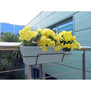 Jardinera de balcón con soporte metálico azul FLORIA 60S Nortene