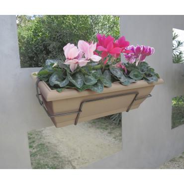 Jardinera de balcón con soporte metálico topo FLORIA 62S Nortene