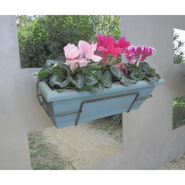 Jardinera de balcón con soporte metálico azul FLORIA 62S Nortene